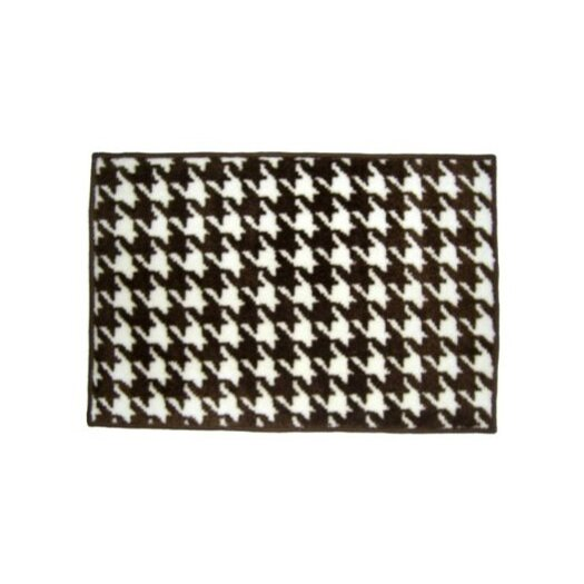 Bacati Quilted Circles Houndstooth White/Chocolate Area Rug