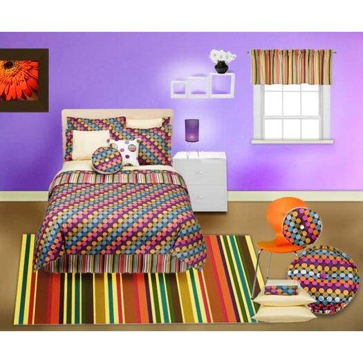 Bacati Dots and Stripes Spice Square Decorative Pillow