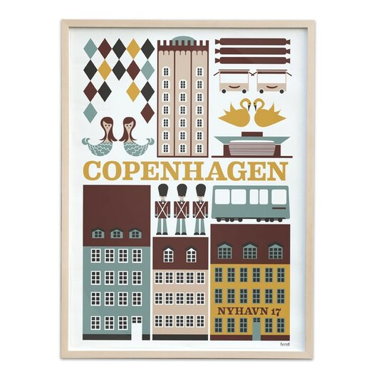 ferm LIVING Copenhagen Framed Vintage Advertisement