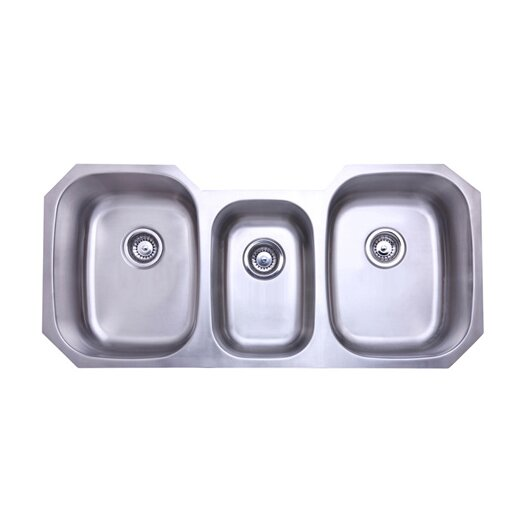 "Elements of Design 50.38"" x 20.5"" Rancho Undermount Offset Triple Bowl Kitchen Sink"