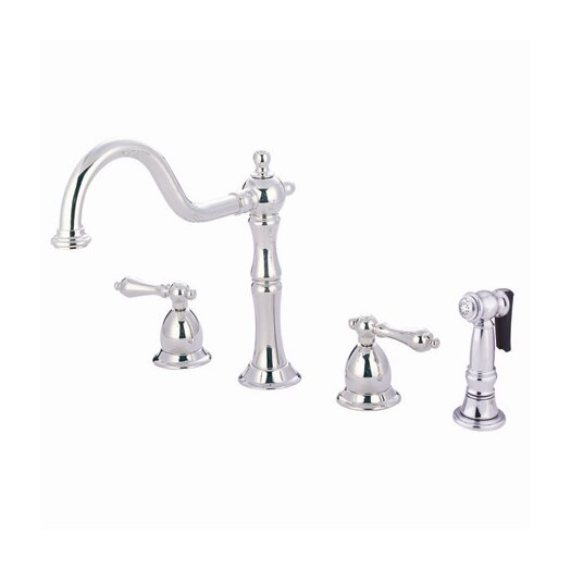 Elements of Design Heritage Double Handle Widespread Kitchen Faucet with Brass Side Spray and Metal Lever Handle