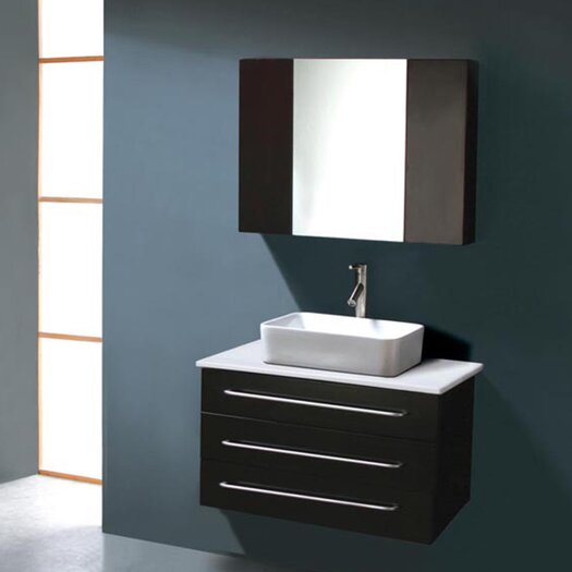 "Virtu Ivy 32"" Single Bathroom Vanity Set with Mirror"