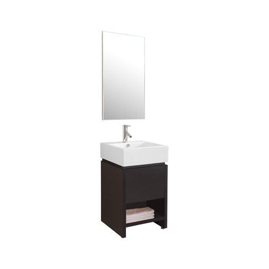 "Virtu Curtice 20"" Single Bathroom Vanity Set with Mirror"