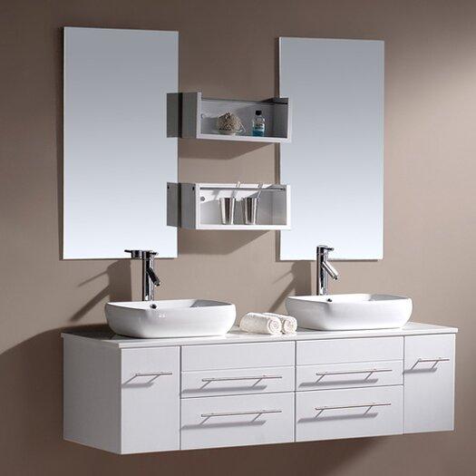 """Virtu Augustine 60"""" Double Bathroom Vanity Set with Mirror"""