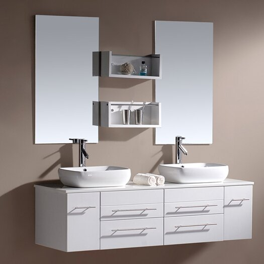 "Virtu Augustine 60"" Double Bathroom Vanity Set with Mirror"