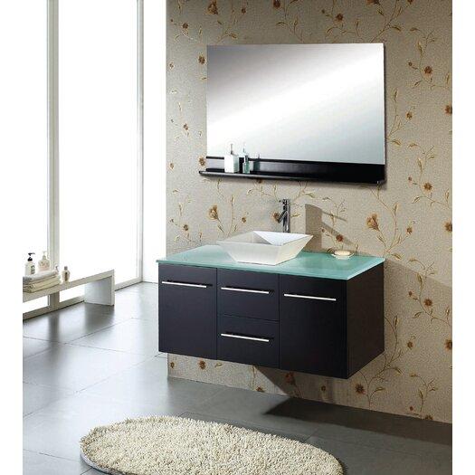 "Virtu Ultra Modern 47.2""  Marsala Wall Mounted Single Bathroom Vanity Set"