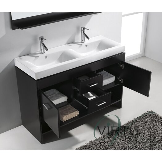 "Virtu Gloria 48"" Double Sink Bathroom Vanity Set"