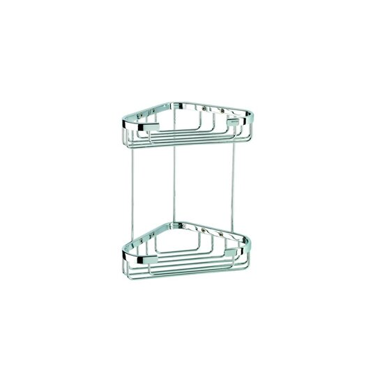 Geesa by Nameeks Basket Double Medium Corner Shower Basket in Chrome