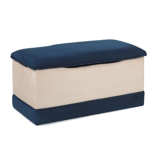 Hannah Baby Deluxe Toy Box in Beige and Navy Blue Micro Fiber