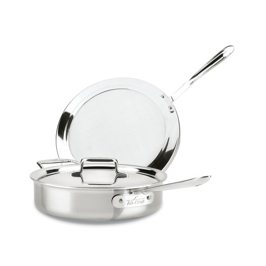 "All-Clad d5 Brushed Stainless Steel 10.25"" Frying Pan with Lid"