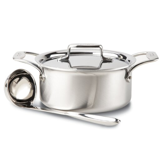 All-Clad Brushed Stainless Steel 3-qt. Soup Pot with Lid and Ladle