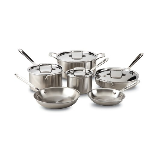 All-Clad Brushed Stainless Steel 10 Piece Cookware Set