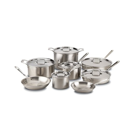 All-Clad Brushed Stainless Steel 14 Piece Cookware Set