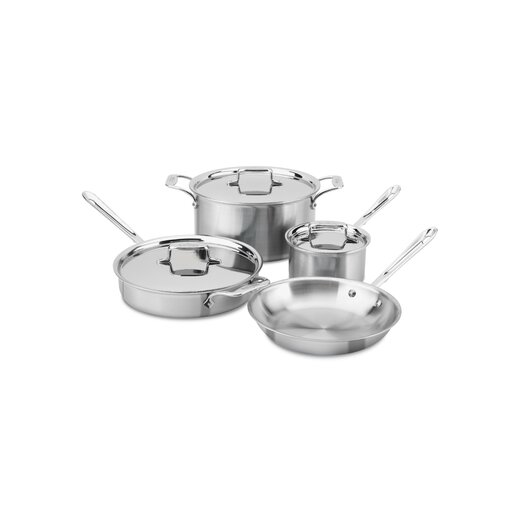 All-Clad Brushed Stainless Steel 7 Piece Cookware Set
