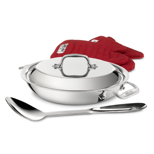 All-Clad Stainless Steel 2-qt. All Purpose Pan with Spoon, Mitts and Lid