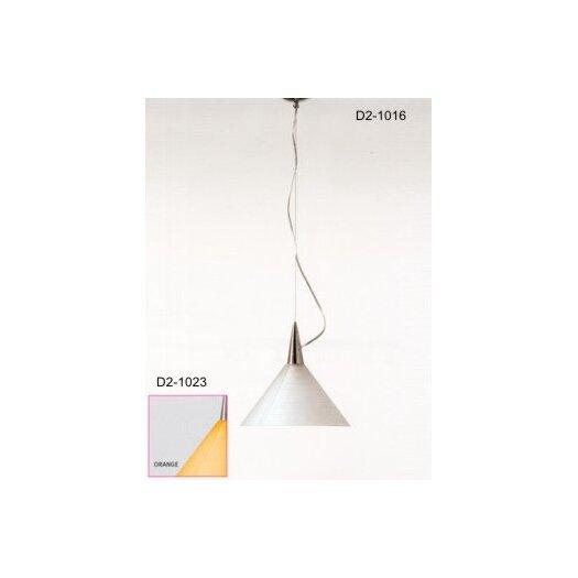 Zaneen Lighting Prima One Light Pendant with Orange Glass Diffuser in Aluminum