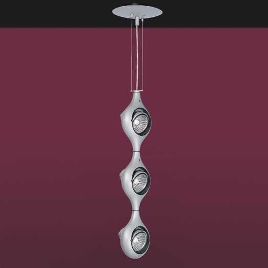 Zaneen Lighting Space Three Light Pendant in Metallic Gray