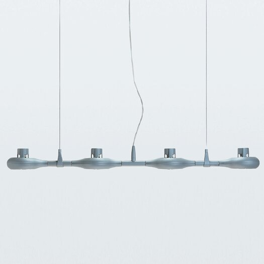 Zaneen Lighting Space Four Light Linear Pendant in Metallic Gray