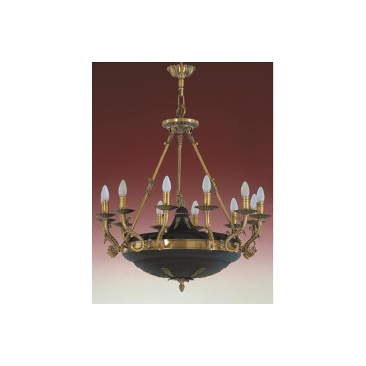 Zaneen Lighting Morain Twelve Light Traditional Chandelier in English Bronze and Black Suede