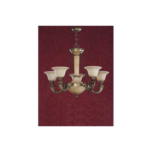 Zaneen Lighting Santos Five Light Traditional Chandelier in Dark English Bronze