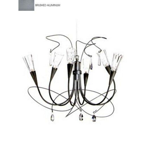 Zaneen Lighting Flute Six Light Chandelier in Aluminum