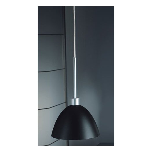Zaneen Lighting Willy One Light Pendant in Metallic Gray with Black Glass