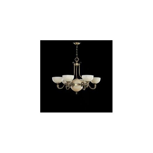 Zaneen Lighting Santos Seven Light Traditional Chandelier in Dark English Bronze