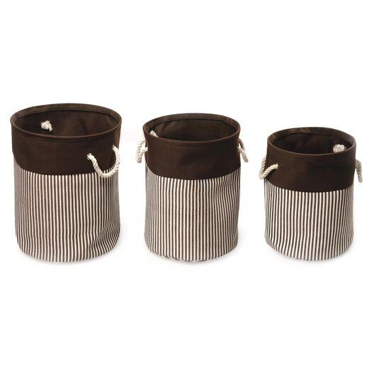 Badger Basket 3 Piece Nesting Round Basket / Hamper Set