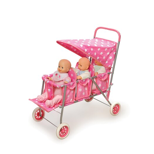 Badger Basket Triple Doll Stroller in Pink with White Polka Dots