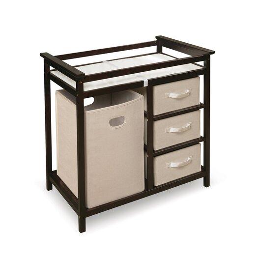 Badger Basket Modern Baby Changing Table with 3 Baskets & Hamper