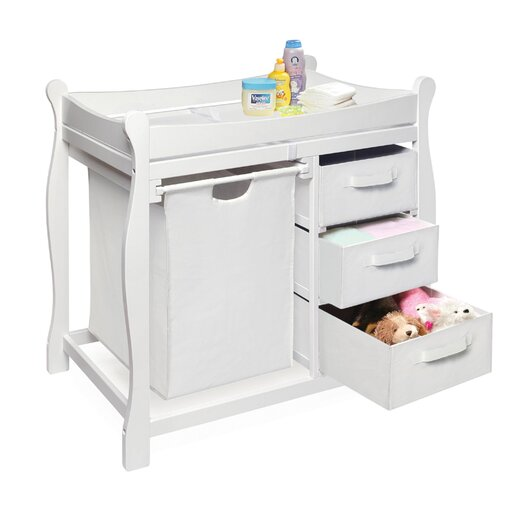 Badger Basket Sleigh Style Baby Change Table with 3 Baskets & Hamper