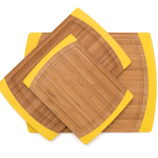Lipper International 3 Piece Bamboo Non Slip Cutting Board Set