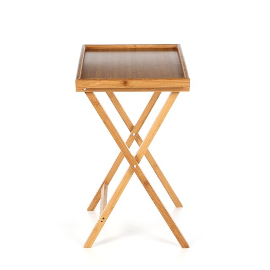 Lipper International Bamboo Folding TV Tray Table with Lip