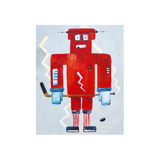Cici Art Factory Bom Loves Hockey Robot Canvas Art