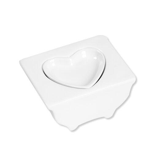 Ooga Studio White Elevated Heart Tray Condiment Server