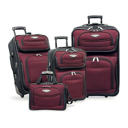Traveler's Choice Amsterdam 4-Piece Two-Tone Travel Set in Red