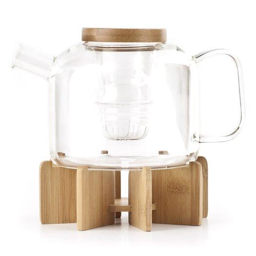 Lotus Glass Tea Pot with Stand