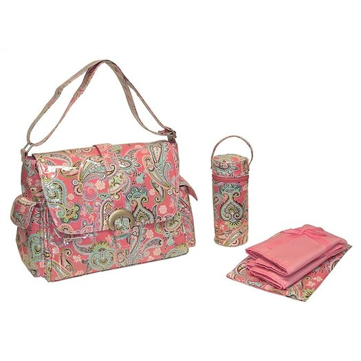 Kalencom Laminated Buckle Bag in Cotton Candy Paisley Pink
