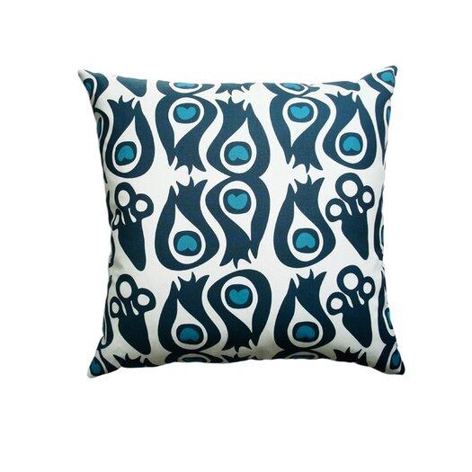 Balanced Design Hand Printed Canvas Peacock Pillow