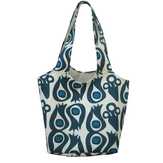 Hand Printed Heavy Canvas Peacock Tote