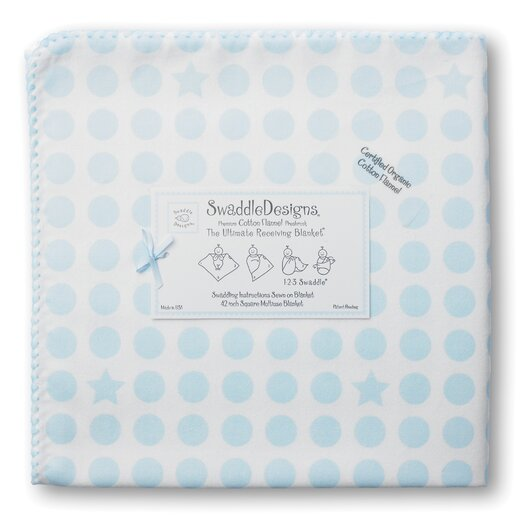 Organic Ultimate Receiving Blanket� in Pastel Dots and Stars with Pastel Trim
