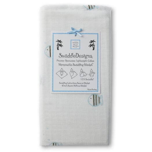 Swaddle Designs Marquisette Swaddling Blanket in Pastel and Mocha Striped Fish