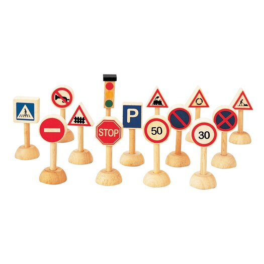 Plan Toys City 14 Piece Traffic Signs and Lights Set
