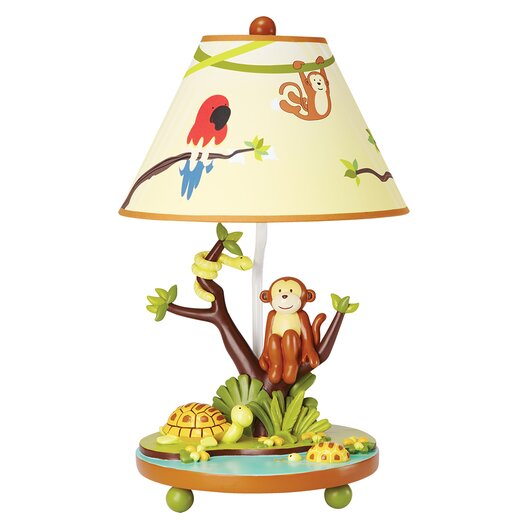 "Guidecraft Jungle Party 19"" H Table Lamp with Empire Shade"