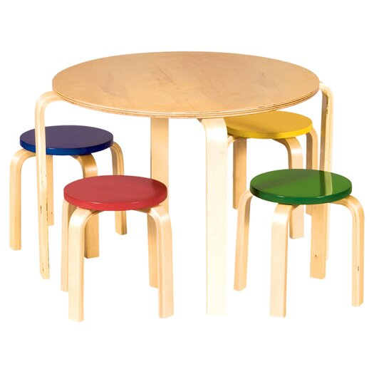 Guidecraft Nordic Kids' 5 Piece Table & Stool Set
