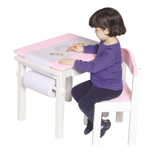 Guidecraft Pink Art Table & Chair Set