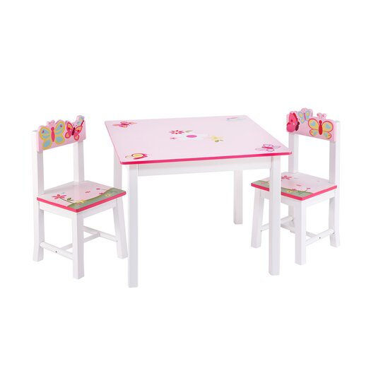 Guidecraft Butterfly Buddies Kids 3 Piece Table and Chairs Set