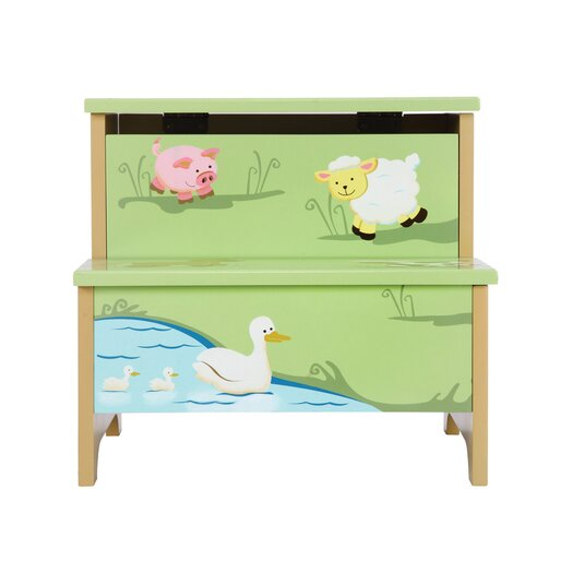 Guidecraft Farm Friends 2 Step Storage Stool