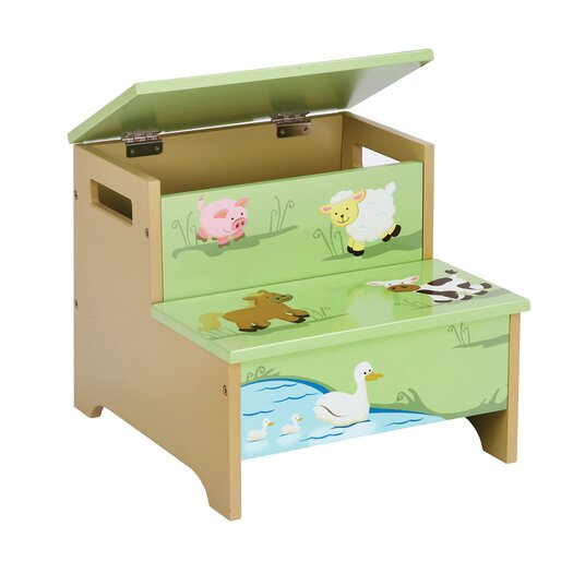 Guidecraft Farm Friends 2-Step Storage Step Stool