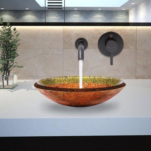 Vigo Janus Glass Vessel Bathroom Sink with Olus Wall Mount Faucet